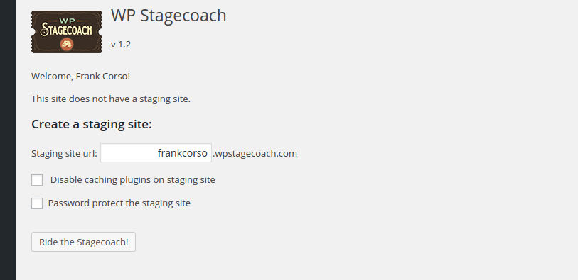 WP Stagecoach Staging Site Settings