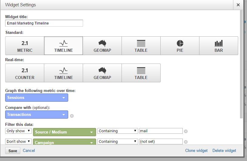Google Analytics Dashboard Widget Settings