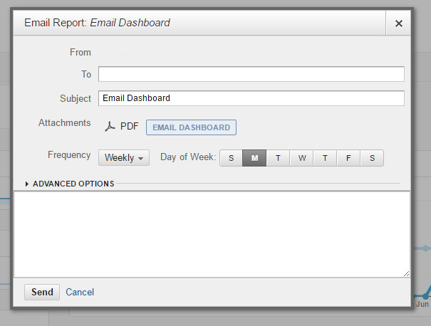 Google Analytics Email Dashboard Settings