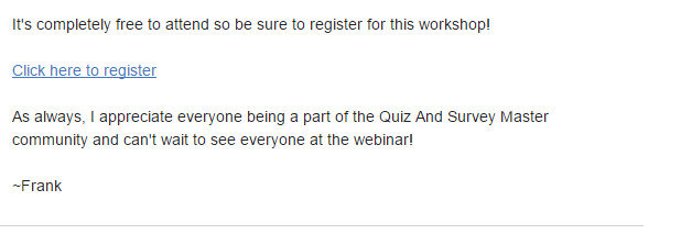 "Screenshot of email that has a link saying ""Click here to register""."