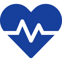 Logo for WP Health. Blue heart with heartbeat laid over top.