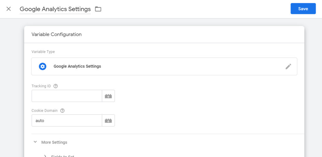 "Screenshot of ""Variable Configuration"" panel showing variable type as ""Google Analytics Settings""."