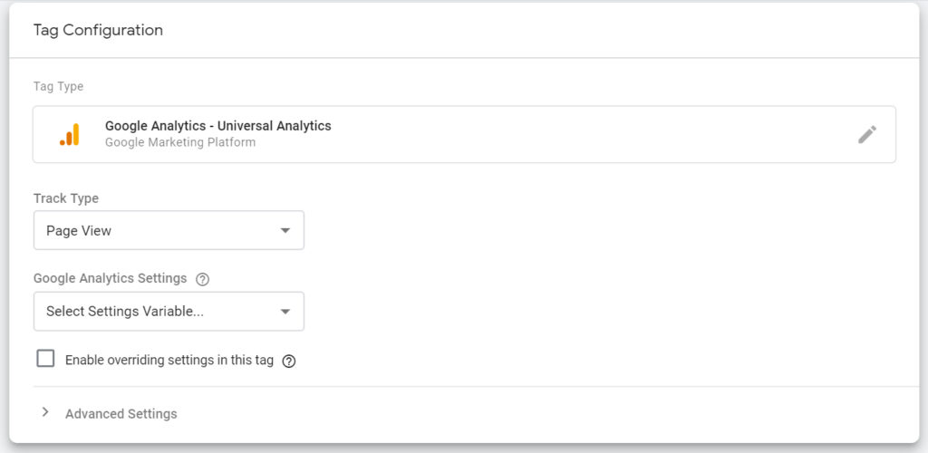 """Screenshot of """"Tag Configuration"""" panel showing """"Google Analytics"""" as the Tag Type with settings of """"Track Type"""" and """"Google Analytics Settings""""."""