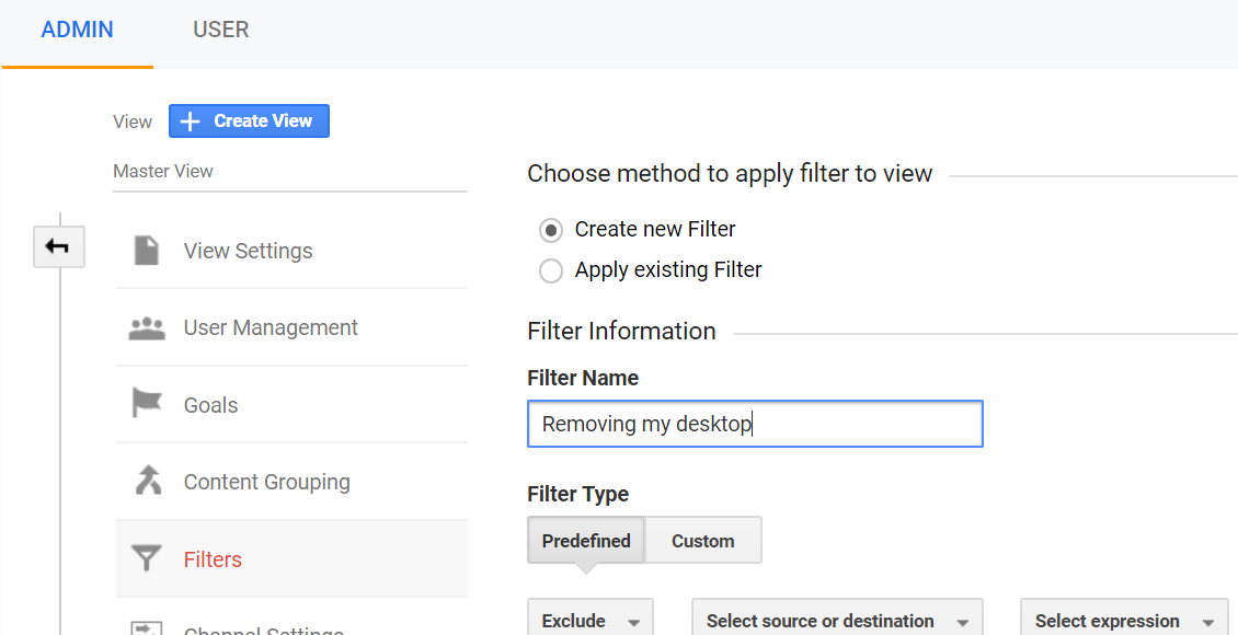"""Screenshot of creating a new view with the filter name set to """"Removing my desktop"""" and filter type set to """"Predefined""""."""